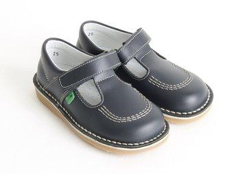 T-strap schoenen met klittenband - Donkerblauw