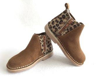 Chelsea suède laarzen met luipaardprint